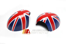 Red Union Jack Side Mirror Covers Set for Mini Cooper R55~R61 Power Fold Mirrors