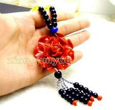 "SALE 40mm Red Flower pendant 26"" sweater necklace Lady's charm Jewelry-nec5879"