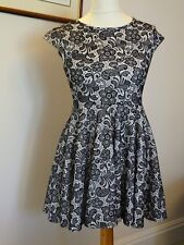 Ladies black and white embroidered style dress size 10