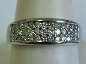 18CT WHITE GOLD BROAD DIAMONDS HALF ETERNITY BAND RING - 0.75 CARATS - UNISEX