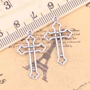 10 Cross Charms Christening Baptism Baby Shower Invitations Silver Favour Gift
