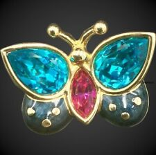New Swarovski Crystal Butterfly Brooch, Blue and Pink Enamel Pin, In Packaging
