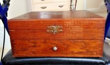 Antique  Wooden Silverware Box with lovely Grain and pull out drawer