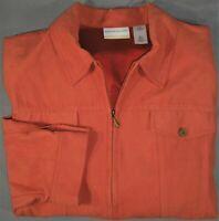 Womens 24W Alfred Dunner Coral Burnt Orange Salmon Zippered Jacket Coat - EUC