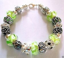 "22 pc Finished 7.5""  EUROPEAN CHARM BRACELET Lime Green, 2 Stopper Beads C19"