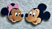 Vintage DISNEY MICKEY & MINNIE MOUSE Handmade Painted WOOD Cut Outs Signed Dated