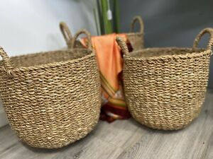 Seagrass Baskets - Baskets for Plants - Baskets With Handles - Set Of 3