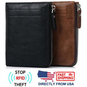 Men's RFID Blocking ID Window Zipper Pocket Leather Bifold Wallet