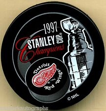 1997 DETROIT RED WINGS NHL STANLEY CUP CHAMPIONS HOCKEY PUCK w/ Free Shipping