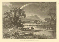 Mount Tom, MA, Northampton Meadows, Farm Scene, Cattle, Hay Harvest, Art Print,