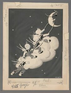 """MERRY CHRISTMAS Angels on Cloud w/ Cresent Moon 5x7"""" Greeting Card Art #222"""