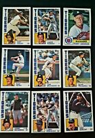 Lot of 9 1984 Topps Detroit TIGERS Kirk Gibson, Alan Trammell, SPARKY  all MINT