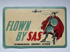 SCANDINAVIAN AIRLINES SAS luggage tag sticker etichetta label vintage aereo *