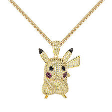 Cartoon Character Pikachu Pendant Iced Out Canary & Red Lab Diamonds Free Chain