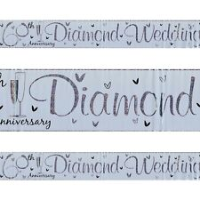 60th Diamond Wedding Anniversary Plastic Silver Holographic Banner 2.5m Party