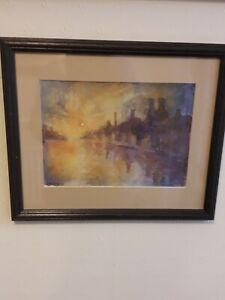 WATERCOLOUR PAINTING, IMPRESSIONIST,  POTTERY LANDSCAPE SCENE, SIGNED & FRAMED