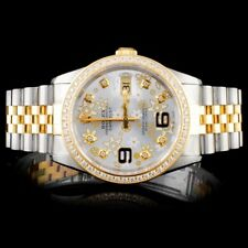 ROLEX CERTIFIED MENS 18K/SS DATEJUST JUBILEE 1.25CT DIAMOND 36MM WRISTWATCH
