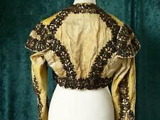 Precious 1800 Silk Jacket Golden Silk Black Jet Embroidery Shoulder Pads Hector