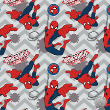 Marvel Ultimate Spider Man II Gray Chevron Cotton Fabric by the Yard Super Hero