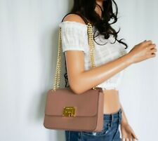 NWT MICHAEL KORS TINA MED SHOULDER FLAP LEATHER CHAIN BAG DUSTY ROSE