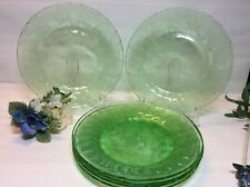 Set Of 6 Jeannette Glass Green Depression Floral Poinsetta Dinner Plates 8 7/8""