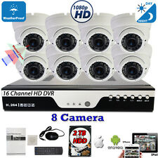 16 Channel HD DVR 8x HD 1080p Home CCTV All Weather Security Camera System w/2TB