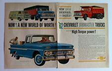 1962 Chevrolet Fleetside Pick Up Jobmaster Corvair Corvan GM car ad print 1963