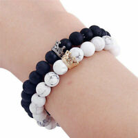 2Pcs 8mm Couple King Queen Crown Bracelets His And Her Friendship Beads Bracelet