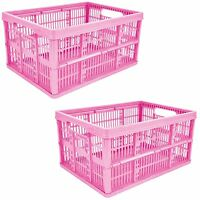 2 x 32L Plastic Folding Storage Container Basket Crate Box Stack Foldable PINK