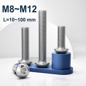 M8 M10 M12 Button Head Socket Cap Screw A2 Stainless Steel Allen Bolts Hex Drive