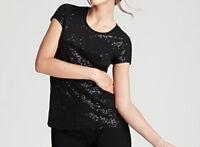 DKNY Donna Karan New Short Sleeve Sequin Top Size XP/P MSRP $69 #G 695