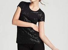 DKNY Donna Karan New Short Sleeve Sequin Top Size XP/P MSRP $69 #G 695