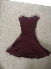Topshop Maroon Structured High Waisted Skater Dress 6