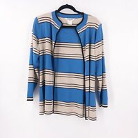 Exclusively Misook Petit Small Cardigan Jacket Open Front Striped Blue Gray