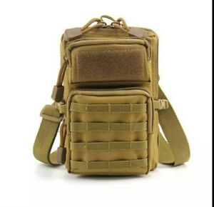 Saccoche armée sac Militaire bandoulière sac tactique 3 poches randonnée coyote