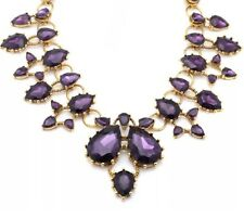 AMETHYST PURPLE Chunky Crystal Rhinestone Choker Collar Bib Statement Necklace