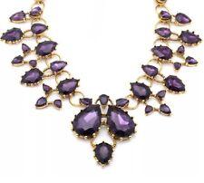 AMETHYST PURPLE Chunky Crystal Rhinestone Choker Collar Bib Statement Necklace