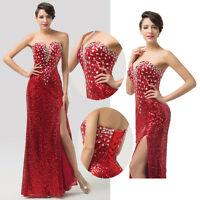 Sequins Women Long Masquerade Evening Formal Party Cocktail Ball Gown Prom Dress