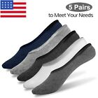 5Pairs Men Invisible No Show Socks Nonslip Loafer Low Cut Solid Cotton Boat Sock