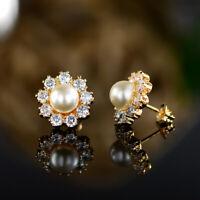 Sevil 18K Gold Plated Created Pearl Sunflower Stud Earrings W Swarovski Elements