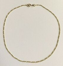 """14K Oro Real Tobillera 10"""" Largo/ 14K Solid Yellow Gold Figaro Link Anklet 10"""""""