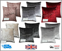 NEW Decore Crushed Velvet Cushion Covers Luxury Plush Plain 8 Colours & 5 Sizes