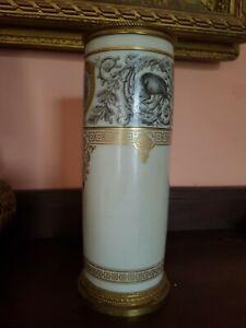French Sevres Porcelain vase cream gilt dog wild boar chateau F. Bleau