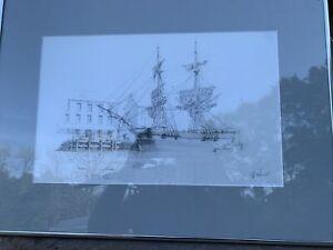 "Brig ""Swan"" At Georgetown By John Stobart 22 1/2 X 16 1/2 Framed 300/350"