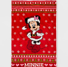 Disney Mickey Mouse Friends Minnie Mouse Twin Size Red Bed Plush Blanket 62x90