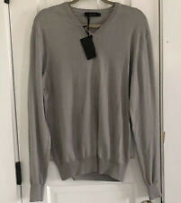 NEW CALVIN KLEIN COLLECTION Sz XL Gray Cotton V-Neck Sweater Slim Fit ITALY
