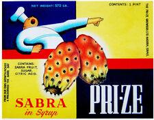 1950 Jewish ISRAEL KOSHER FOOD LABEL Litho SABRA COMPOTE Prickly pear OPUNTIA