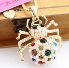 Pendant Betsey Johnson Pearl spider Rhinestone Chain Jewelry Fashion Necklace