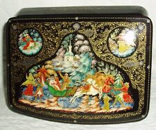 "Russian Lacquer box Palekh "" Wedding Troika carriage "" miniature Hand Painted"