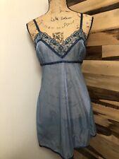 Victoria's Secret Blue Slip Dress Lingerie Nightgown  Lace Size M
